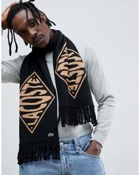 Мужской черный шарф с принтом от lacoste live