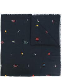 Мужской черный шарф от Gucci
