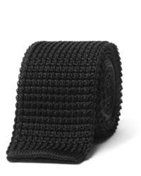 Мужской черный шелковый вязаный галстук
