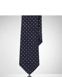 Черный шелковый галстук в горошек