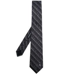 Мужской черный шелковый галстук с принтом от Alexander McQueen