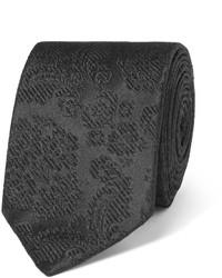 Мужской черный шелковый галстук с цветочным принтом от Dolce & Gabbana