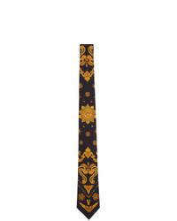 Мужской черный шелковый галстук с цветочным принтом от Versace