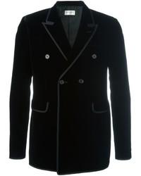 Мужской черный шелковый двубортный пиджак от Saint Laurent