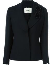 Женский черный шелковый пиджак от Fendi