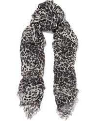Женский черный шелковый шарф с леопардовым принтом от Saint Laurent