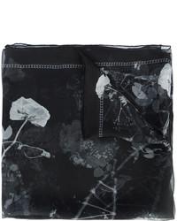 Женский черный шелковый шарф с принтом от Alexander McQueen