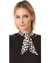 Женский черный шелковый шарф с принтом от Kate Spade
