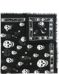 Мужской черный шелковый шарф от Alexander McQueen
