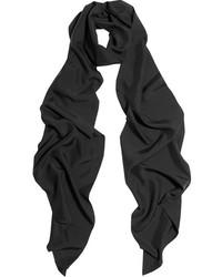 Женский черный шелковый шарф от Lanvin