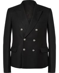 Черный шерстяной двубортный пиджак