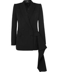 Женский черный шерстяной двубортный пиджак от Alexander McQueen