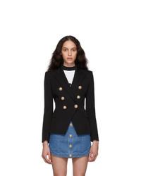 Женский черный шерстяной двубортный пиджак от Balmain