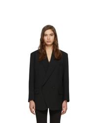 Женский черный шерстяной двубортный пиджак от Low Classic
