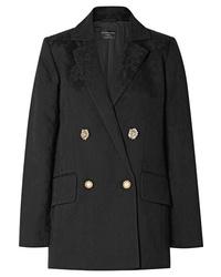 Женский черный шерстяной двубортный пиджак от Mother of Pearl