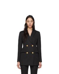 Женский черный шерстяной двубортный пиджак от Versace