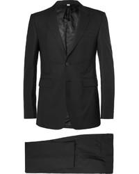 Черный шерстяной костюм в вертикальную полоску от Burberry