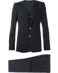 Черный шерстяной костюм-тройка в вертикальную полоску от Dolce & Gabbana