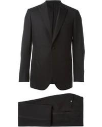 Мужской черный шерстяной костюм от Brioni