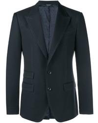Мужской черный шерстяной пиджак в горошек от Dolce & Gabbana