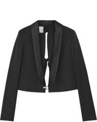 Женский черный шерстяной пиджак с украшением от Lanvin