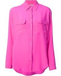 Ярко-розовая блуза на пуговицах