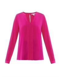 Ярко-розовая блузка с длинным рукавом