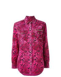 Ярко-розовая классическая рубашка с принтом