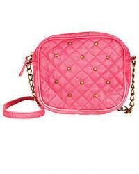 Ярко-розовая кожаная стеганая сумка через плечо