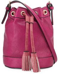 Ярко-розовая кожаная сумка-мешок