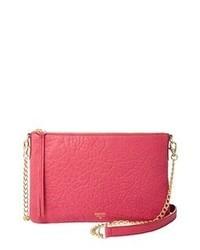 Ярко-розовая кожаная сумка через плечо