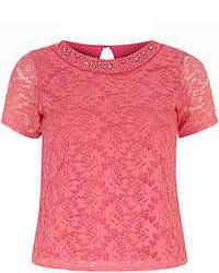Ярко-розовая кружевная блуза с коротким рукавом