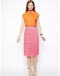 Ярко-розовая кружевная юбка-миди