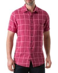 Ярко-розовая льняная рубашка с коротким рукавом