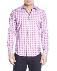 Ярко-розовая рубашка с длинным рукавом в клетку