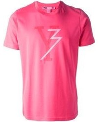 Ярко-розовая футболка с круглым вырезом с принтом