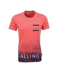 Мужская ярко-розовая футболка с круглым вырезом с принтом от s.Oliver Denim