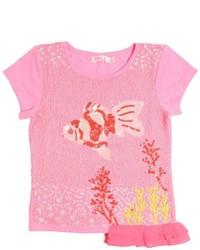 Ярко-розовая футболка с украшением