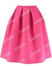 Ярко-розовая юбка-миди со складками