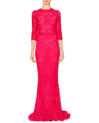 Ярко-розовое кружевное вечернее платье