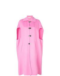 Ярко-розовое пальто-накидка
