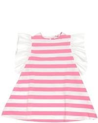 Ярко-розовое платье в горизонтальную полоску