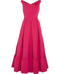Ярко-розовое платье-миди со складками