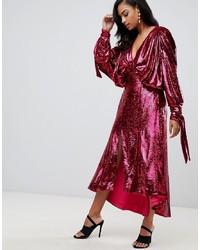 Ярко-розовое платье-миди с пайетками