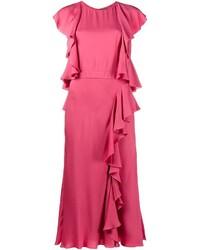 Ярко-розовое платье-миди от Alexander McQueen