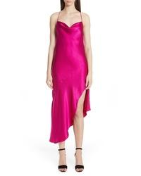 Ярко-розовое сатиновое платье-комбинация