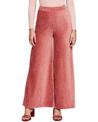 Ярко-розовые вельветовые широкие брюки