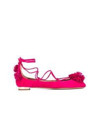 Ярко-розовые замшевые балетки от Aquazzura