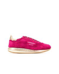 Ярко-розовые замшевые низкие кеды