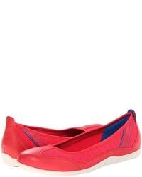 Ярко-розовые кожаные балетки